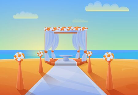Cartoon panorama of the seashore with equipment for the wedding ceremony, vector illustration