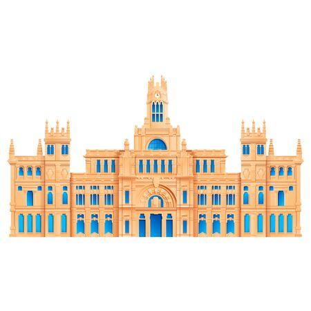 plaza de cibeles landmark of madrid in spain, vector illustration