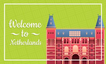cartoon greeting card to the netherlands, vector illustration 일러스트