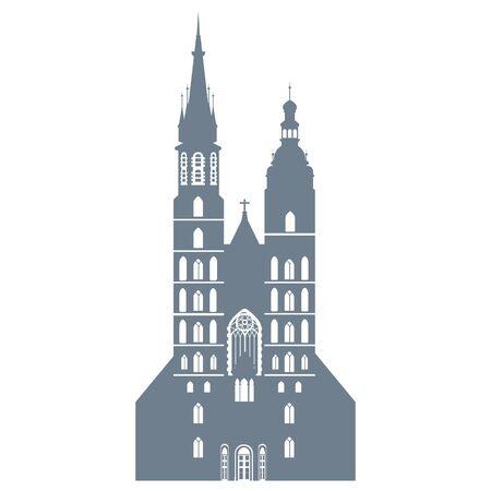 Silhouette der Basilika St. Marien in Krakau in Polen, Vektorillustration