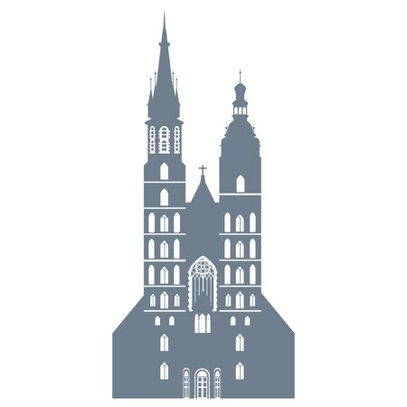 silhouette of the Basilica of St. Mary in Krakow in Poland, vector illustration
