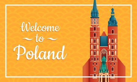 Cartoon greeting card to Poland, vector illustration 일러스트
