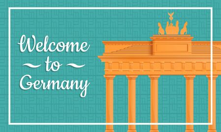 Cartoon greeting card to Germany, vector illustration. 일러스트