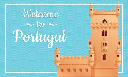 Cartoon card welcome to portugal, vector illustration