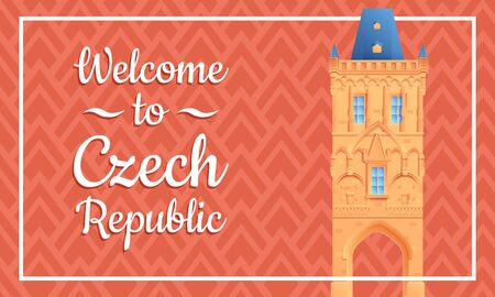 Cartoon greeting card to the Czech Republic, vector illustration