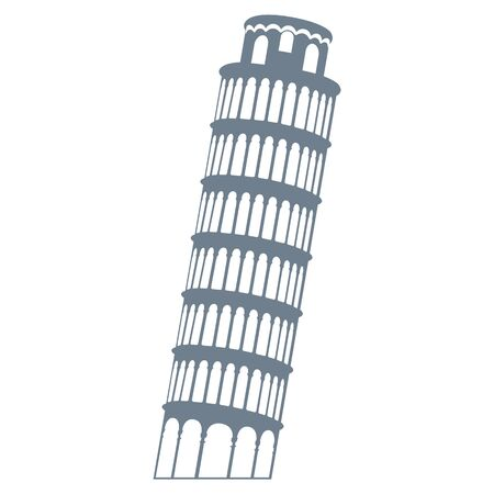 silhouette leaning leaning tower of pisa, vector illustration 일러스트