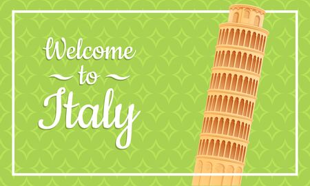 Cartoon card welcome to Italy, vector illustration 스톡 콘텐츠 - 137480950
