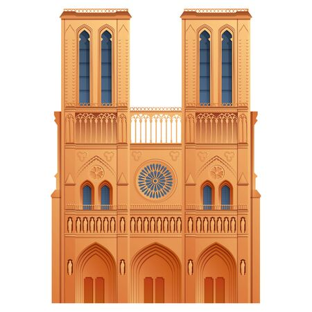 cartoon icon of notre dame cathedral in paris, french landmark, vector illustration Ilustração