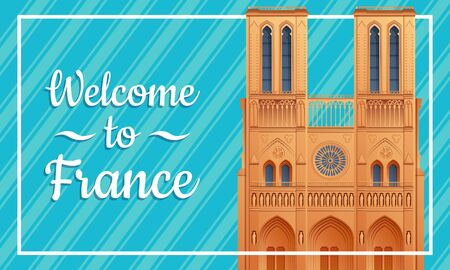 greeting card to France with the symbol of Paris by Notre Dame Cathedral, vector illustration