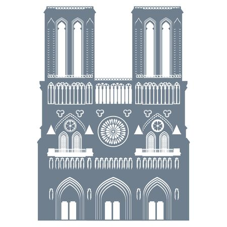 silhouette icon of notre dame cathedral in paris, french landmark, vector illustration 스톡 콘텐츠 - 137480955