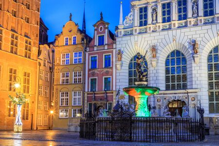 neptune fountain in the main square of gdansk in europe