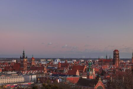 panoramic view of evening gdansk in poland view of the old city and main attractions 스톡 콘텐츠 - 139261484