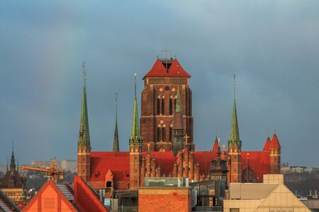 roofs of gdansk top view of the old town and town hall and cathedral