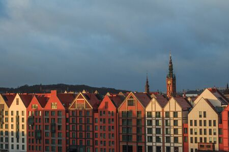 roofs of gdansk top view of the old town and town hall and cathedral 스톡 콘텐츠 - 139261487