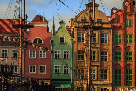 Gdansk city promenade in poland with beautiful old buildings and ships 스톡 콘텐츠