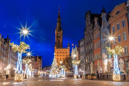 Gdansk New Year Square with Christmas tree and town hall 스톡 콘텐츠 - 137179996