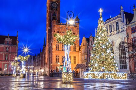 Gdansk New Year Square with Christmas tree and town hall
