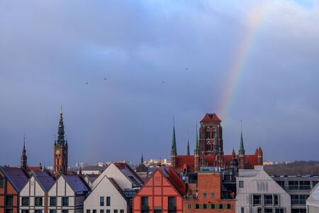 rainbow over the maria cathedral in gdansk top view in winter