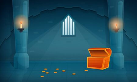nterior of an empty treasury in an old castle with an empty chest and several coins on the floor, vector illustration 스톡 콘텐츠 - 139452464