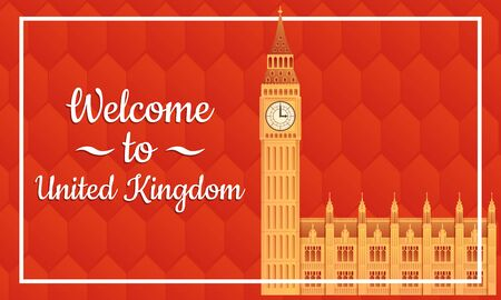 greeting card to uk with big ben icon, vector illustration