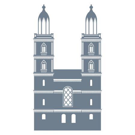 Grossmünster church zurich landmark in switzerland, vector illustration 스톡 콘텐츠 - 139233210