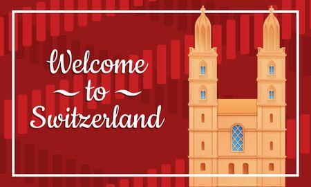 greeting card welcome to switzerland with church  zurich in switzerland, vector illustration 스톡 콘텐츠 - 140289306