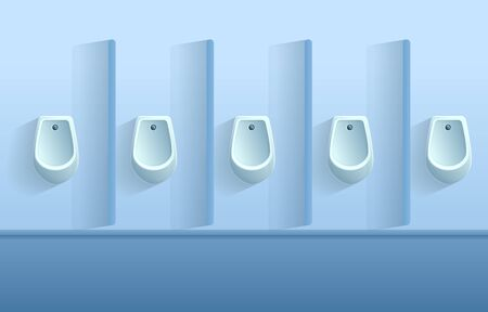 cartoon toilet wall with urinals, vector illustration