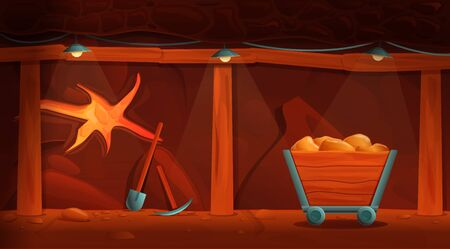 interior of an old cartoon mine with gold and mining tools, vector illustration 일러스트