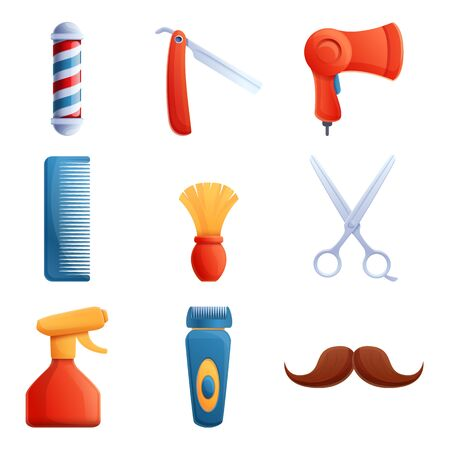 set of cartoon icons on the theme of a hairdresser, vector illustration 일러스트