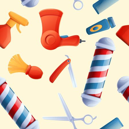 Cartoon background with barber tools, vector illustration 스톡 콘텐츠 - 142256241