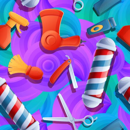 Cartoon background with barber tools, vector illustration