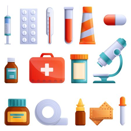 set of cartoon icons on the theme of medicine, vector illustration 스톡 콘텐츠 - 142256089