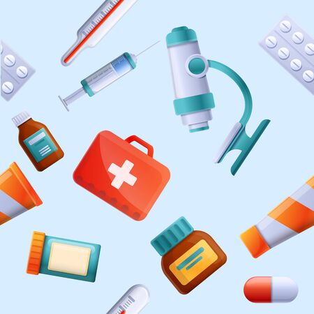 background with icons on a medical theme, vector illustration 스톡 콘텐츠 - 142256074