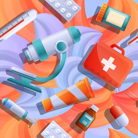 background with icons on a medical theme, vector illustration 스톡 콘텐츠 - 142256083