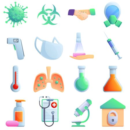 set of cartoon icons on the theme of disease and virus, vector illustration 스톡 콘텐츠 - 143929503