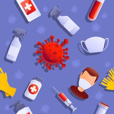 cartoon background on the theme of virus and disease, vector illustration 스톡 콘텐츠 - 142503915