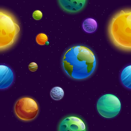 seamless background with planets cartoon planets and stars, vector illustration 일러스트