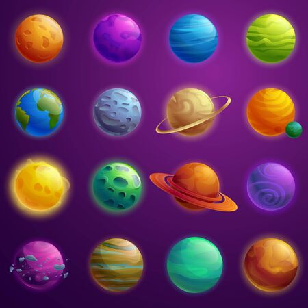 set of beautiful cartoon icons of planets in the universe, vector illustration