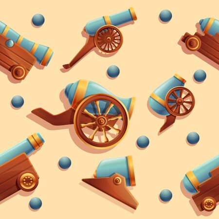 seamless cartoon background with ancient cannons, vector illustration