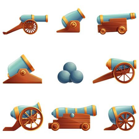 Set of cartoon old cannons, vector illustration