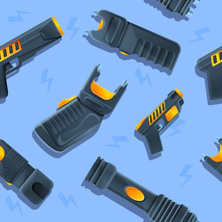 seamless texture with set of shockers and tasers icons, vector illustration 일러스트