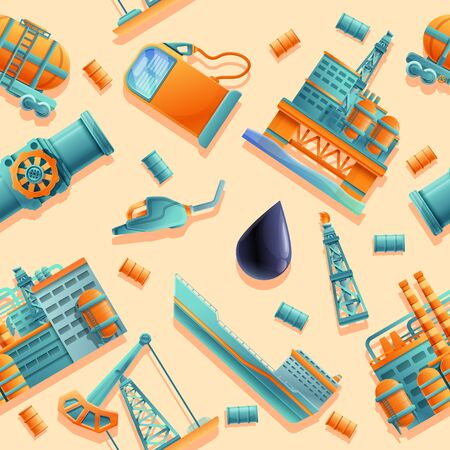 seamless background of cartoon icons on the theme of oil production and refining, vector illustration 일러스트