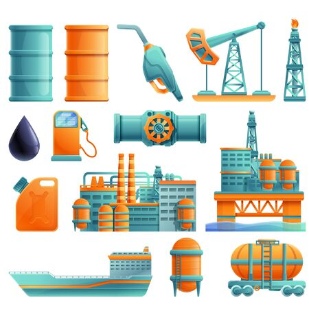 set of cartoon icons on the theme of oil production and refining, vector illustration