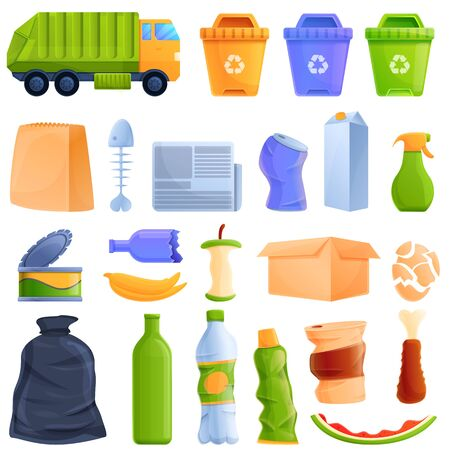 cartoon icon set on the topic of trash, vector illustration 스톡 콘텐츠 - 146815847