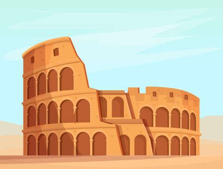 cartoon roman colosseum on nature background, vector illustration