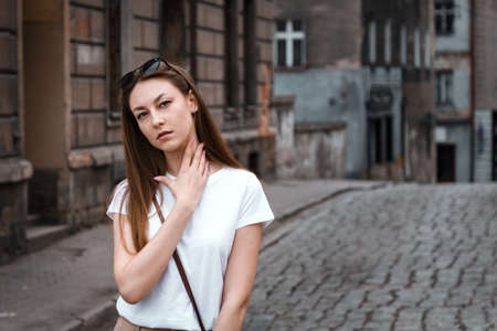 beautiful girl on the streets of the ancient Polish city spring Reklamní fotografie