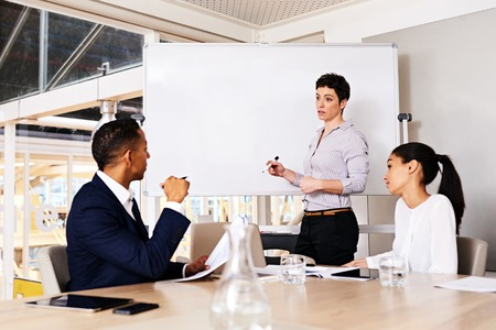 pursue: Mature businesswoman giving a formal presentation to two other members of her firms board to ask for their consent to pursue her new idea to generate revenue to increase the businesss profit.