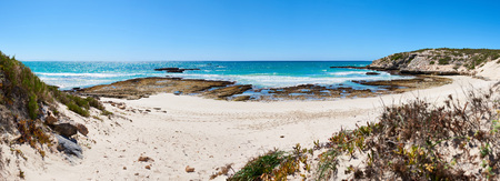 Wide panorama of a beautiful atlantic ocean bay, with white sand beach and clear blue skies, and a couple of shrubs in the foreground and a rocky shoreline. Reklamní fotografie