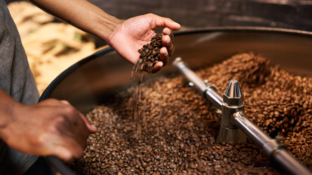 Cropped image of an african mans hands busy feeling the coffee beans after they have just been roasted to perform a quality control before the beans are packaged and shipped globally.