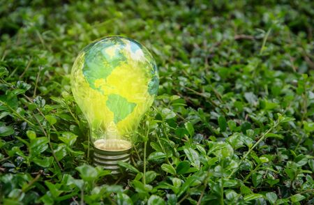 World lamp bright on green nature,America Stock Photo